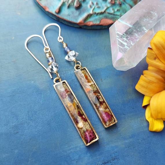 Herkimer Diamond Gold Lake Earrings. Floral Resin Charms, Fine Gold, Tanzanite, Limited Run Artisan Earrings