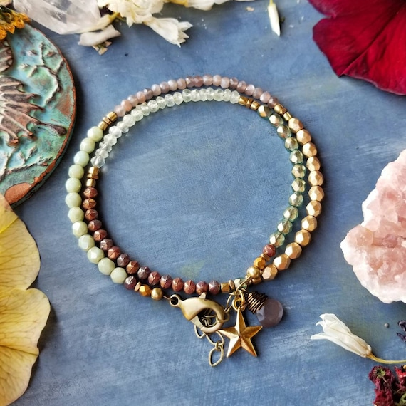 Chocolate Moonstone and Prehnite Wrap Bracelet. Brass, Star Charm, Glass Beads, One-of-a-kind