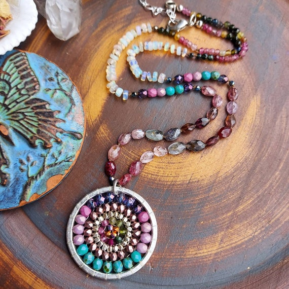 Knotted Gemstones Mandala Necklace. Spinel, Opal, Tourmaline, Colorful, Silver, OOAK Artisan Beaded Necklace
