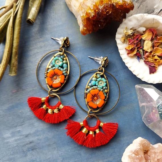 Tassel Beaded Blooms Earrings. Red. Lightweight, Czech Glass Beads, Colorful, Bronze. Artisan Gemstone Earrings