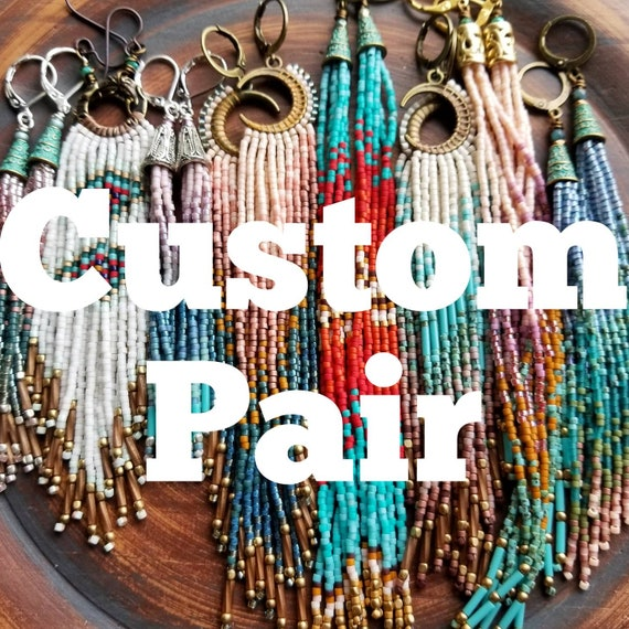 CUSTOM PAIR of Beaded Fringe Earrings, You Choose Style and Colors, *Made-To-Order* Artisan Seed Bead Earrings