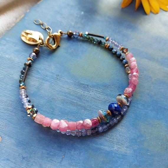 Double Strand Gemstone Bracelet. Pink Tourmaline, Lapis, Tanzanite, Authentic Gemstones, Faceted Brass, Artisan Beaded Bracelet