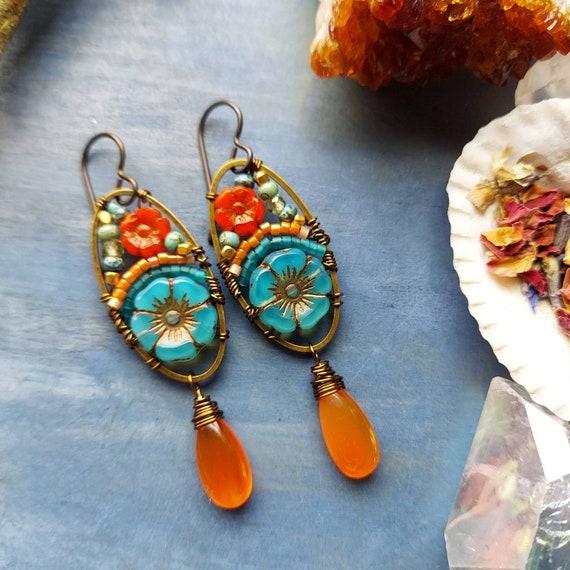 Carnelian Beaded Blooms Earrings. Lightweight, Czech Glass Beads, Colorful, Bronze. Artisan Gemstone Earrings