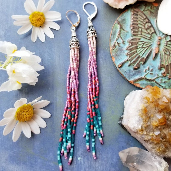 Mini Dharma Fringe Earrings. Taupe, Rose, Lilac, Burgundy, Teal, Silver, Lightweight, Seed Bead Earrings, First Edition