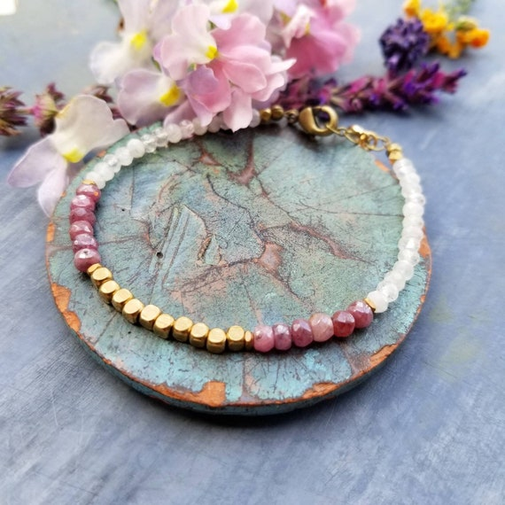 Rainbow Moonstone and Pink Sapphire Bracelet. Authentic Gemstones, Faceted Brass, Gold Moon, Limited Edition Delicate Artisan Bracelet
