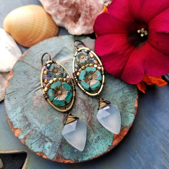 Blue Chalcedony Beaded Blooms Earrings. Lightweight, Czech Glass Beads, Flowers, Bronze, Limited Artisan Earrings