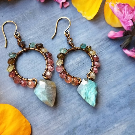 Luxurious Gemstone Goddess Earrings. Labradorite, Watermelon Tourmaline, Brass, Boho Artisan Hoop Earrings
