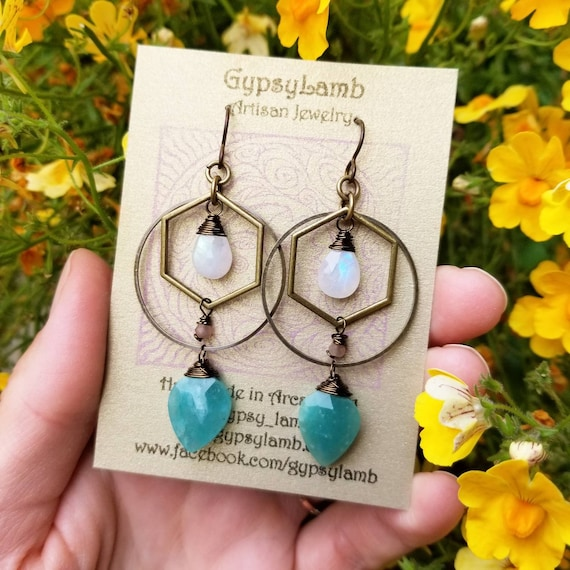 Kinetic Amazonite and Rainbow Moonstone Earrings. Deluxe Gemstones, Hoops, Brass, Lightweight, Boho Artisan Earrings