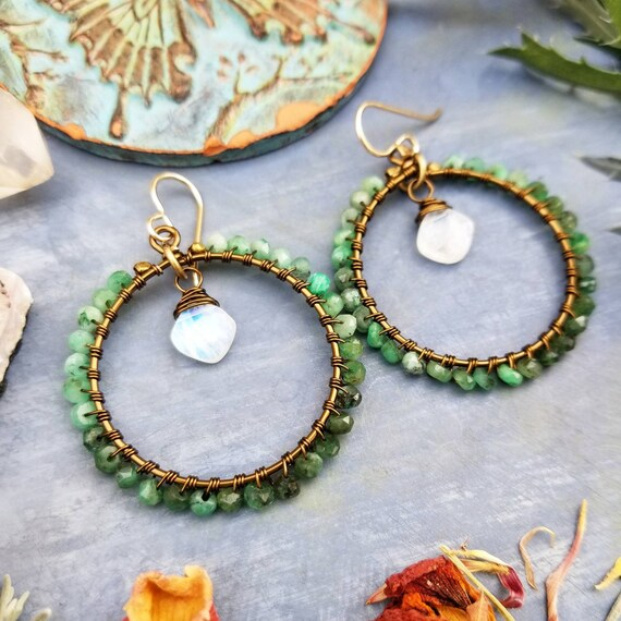 Deluxe Emerald Earrings. Rainbow Moonstone, Brass, Gorgeous Gemstones, Limited Edition Boho Artisan Hoop Earrings