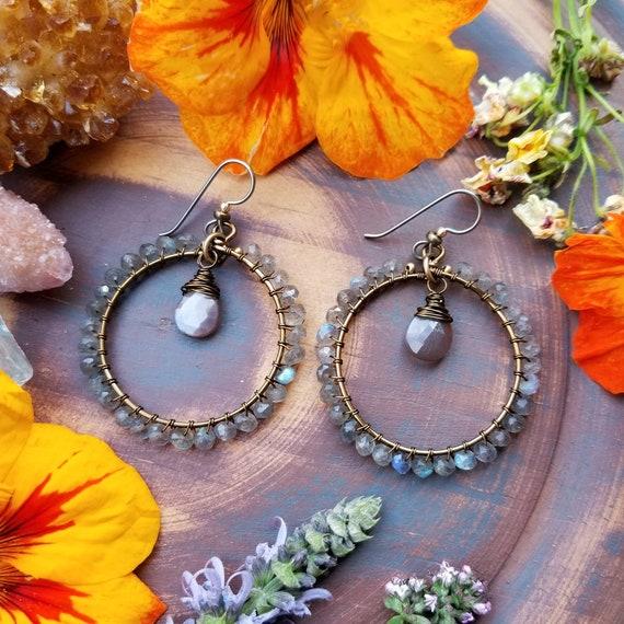 Deluxe Labradorite Earrings. Chocolate Moonstone, Brass, Gorgeous Gemstones, Limited Edition Boho Artisan Hoop Earrings