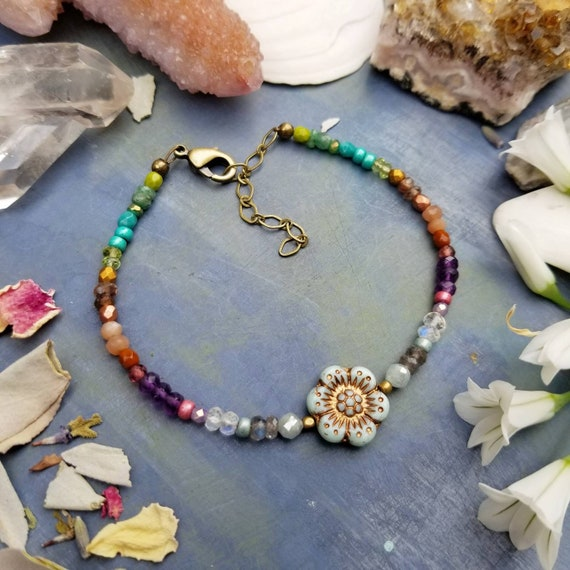 Mixed Gemstone and Glass Daisy Flower Bracelet. Luxurious Gemstones, Faceted Brass, Rainbow Colors, Delicate Artisan Bracelet.