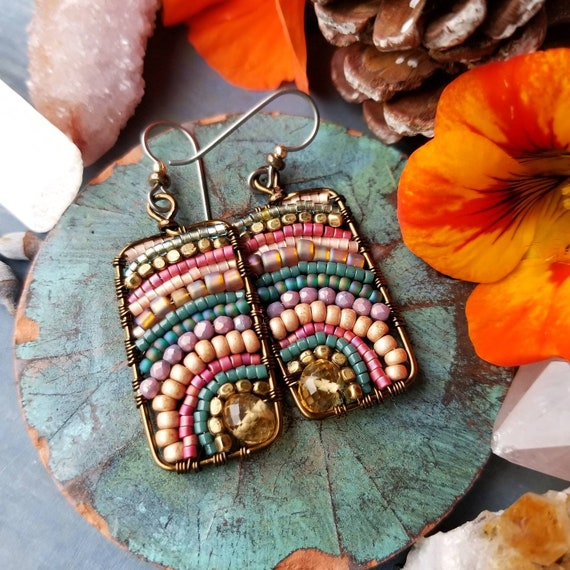 Citrine Xiola Earrings. Teal, Magenta, Lavender, Peach, Glass Seed Beads, Brass, Boho Artisan Earrings