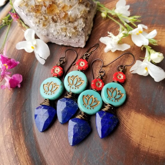 Turquoise Lotus and Lapis Lazuli Drop Earrings. Red Flowers, Luxe Gemstones, Brass, Artisan Wirewrapped Earrings, Limited Edition