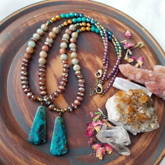 Deluxe Chrysocolla and Mystic Labradorite Necklace. Aqua Terra Jasper, Glass Beads, Brass, Artisan Gemstone Necklace