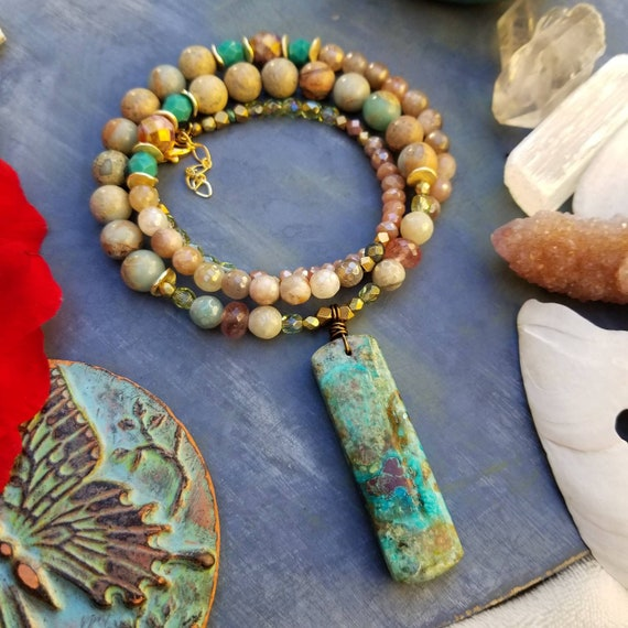 OOAK Deluxe Chrysocolla and Jasper Necklace. Pink Moonstone, Strawberry Quartz, Glass Beads, Brass, Gold, Artisan Gemstone Necklace