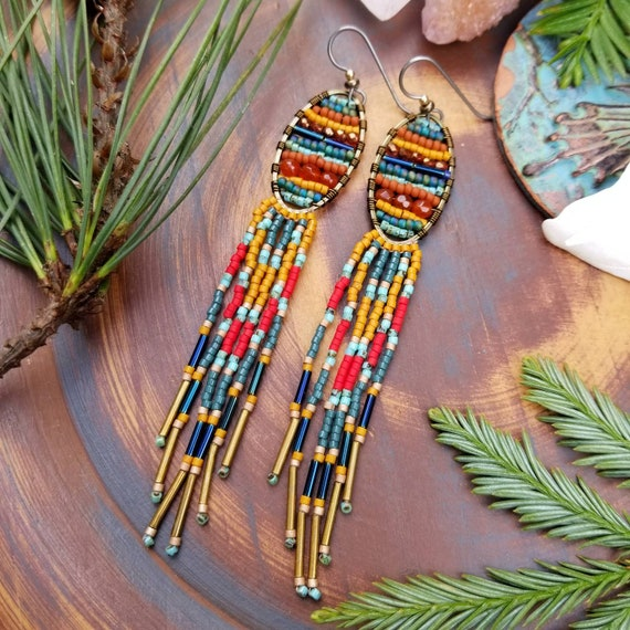 Calcutta Tapestry Fringe Earrings. Brass, Carnelian, Turquoise, Red, Pumpkin, Teal, Navy, Lightweight, Limited Edition Seed Bead Earrings