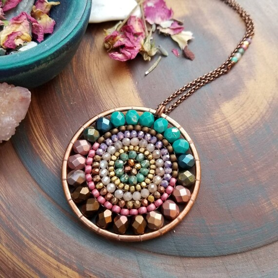 Springtime Twilight Beaded Mandala Necklace. Moonstone, Turquoise, Bronze, Copper, Artisan Beadwoven Necklace, OOAK
