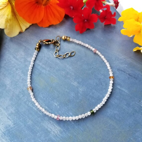 Delicate Rainbow Moonstone and Watermelon Tourmaline Bracelet. Authentic Gemstones, Dainty, Limited Edition Artisan Bracelet