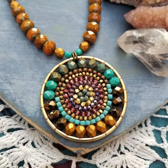 Aztec Gold Beaded Mandala Necklace. Garnet, Turquoise, Purple, Gold, Bronze, Artisan Beadwoven Necklace, OOAK