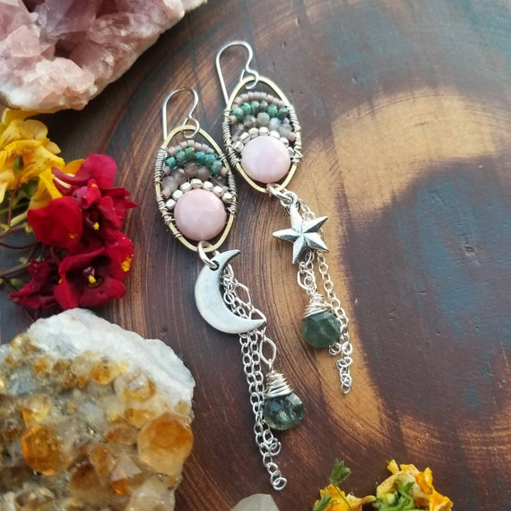Silver Moon and Star Earrings. Pink Opal, Chocolate Moonstone, Moss Aquamarine, Fine Silver, Celestial Artisan Earrings
