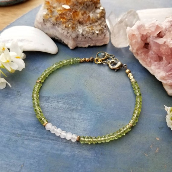 Peridot and Rainbow Moonstone Bracelet. Authentic Gemstones, Faceted Brass, Limited Edition Delicate Artisan Bracelet, August Birthstone