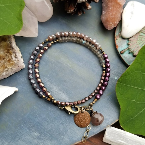Mystic Moonstone and Labradorite Gemstone Wrap Bracelet. Brass. Chocolate Moonstone, Glass Beads, Limited Edition