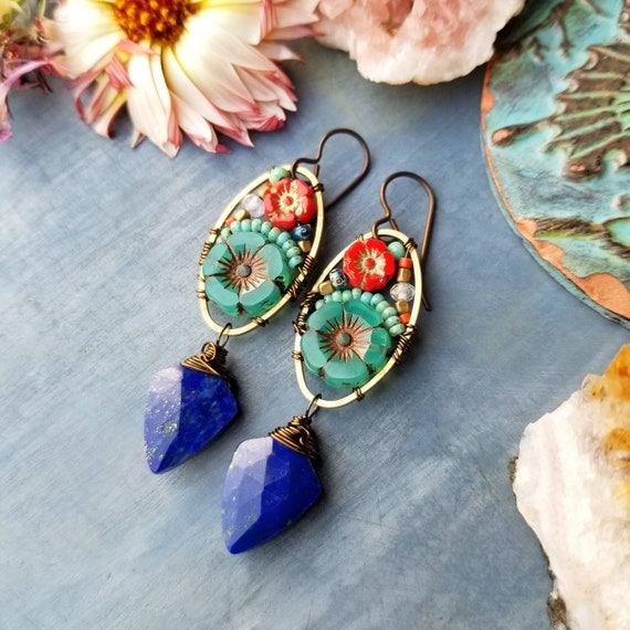 Lapis Lazuli Beaded Blooms Earrings. Lightweight, Czech Glass Beads, Colorful, Bronze. Limited Run Artisan Earrings