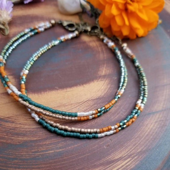 Fountain Grass Double Strand Boho Bracelet. Delica Seed Beads, Brass, Limited Edition Stacking Bracelet