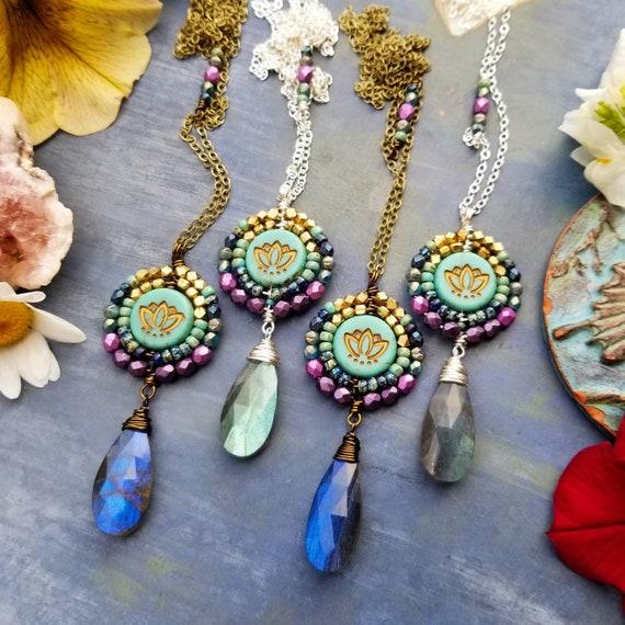 Lotus and Labradorite Nadya Pendant Necklace. Bronze or Silver. Czech Glass, Aqua, Purple, Blue, Limited Edition Artisan Gemstone Necklace