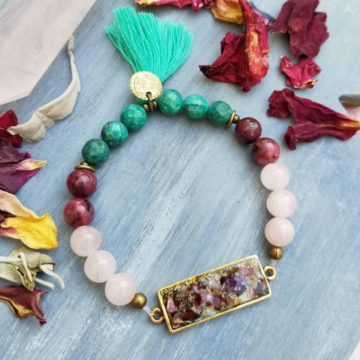 Rose Bracelet Lavender Turquoise Green Blue Rose Jewelry