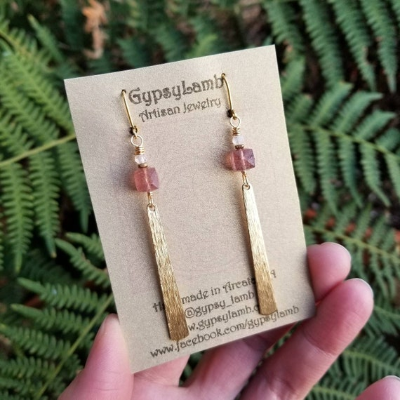 Strawberry Quartz Earrings. Brushed Gold, Rainbow Moonstone, Deluxe Gemstones, Lightweight, Limited Run Artisan Earrings