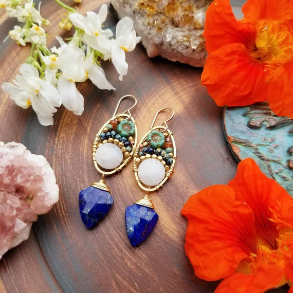 Lapis Lazuli and Rainbow Moonstone Beaded Blooms Earrings. Lightweight, Czech Glass Beads, Gold. Limited Run Artisan Earrings