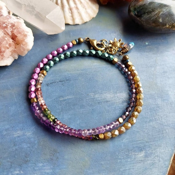 Amethyst and Tourmaline Wrap Bracelet. Luxe Gemstones, Labradorite, Czech Glass, Double Wrap Bracelet