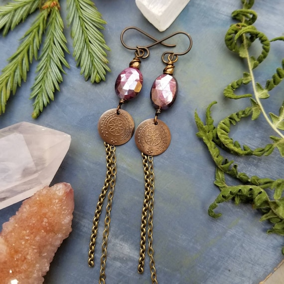 Deluxe Gemstone Drop Earrings. Mystic Fuschia Moonstone, Glass, Brass, Artisan Gemstone Earrings