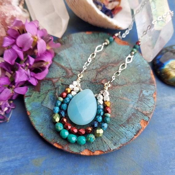 OOAK Amazonite Mirela Necklace. Red, Turquoise, Blue, Silver, Glass, Artisan Gemstone Necklace
