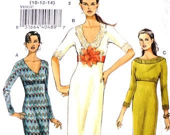 Vogue 8181 Nähen Muster, Größen 12.10.14, UNCUT und Fabrik gefaltet, lässigen Tageskleid, V-Neck-Kleid, Empire-Linie Kleid, Knielanges Kleid