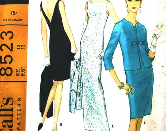 Very rare vintage UNCUT 1960s sewing pattern, McCall's 8523 size 12 retro sheath dress in floor length or knee length, V back and jacket