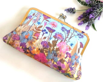 Pressed flowers clutch, large floral purse, evening purse, wedding purse, bridal clutch, party purse, pure silk lining, gift for gardener