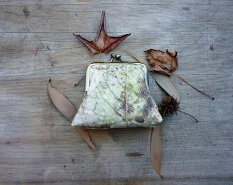 Forest floor purse, nature lover gift, 8 inch frame clutch, leaf clutch, nature purse, botanical handbag
