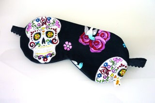 Sugar skulls sleep mask, silk and cotton eye mask, glitter fabric, skulls, roses, bluebirds, going away gift, travel accessory, Calavera