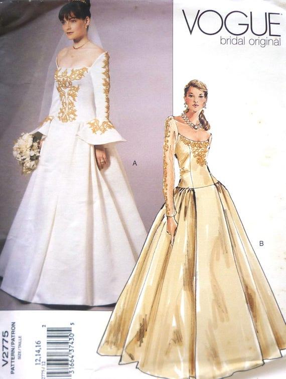 Vogue 2775 Wedding Dress Sewing Pattern Uncut Multiple Size Etsy