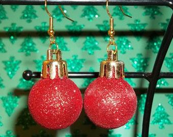 Christmas Bulb Red Glitter