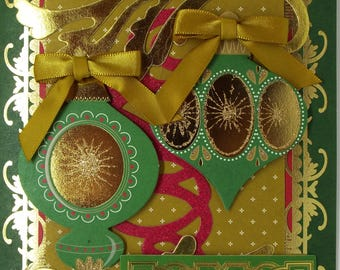 Happy Christmas Green Baubs Christmas Card 2017
