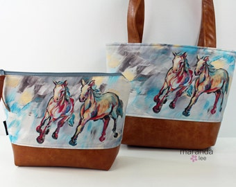 On Your Mark  -  Tote or Messenger or  Clutch  Original Artwork Collaboration with KPotter Fine Art - LIMITED EDITION