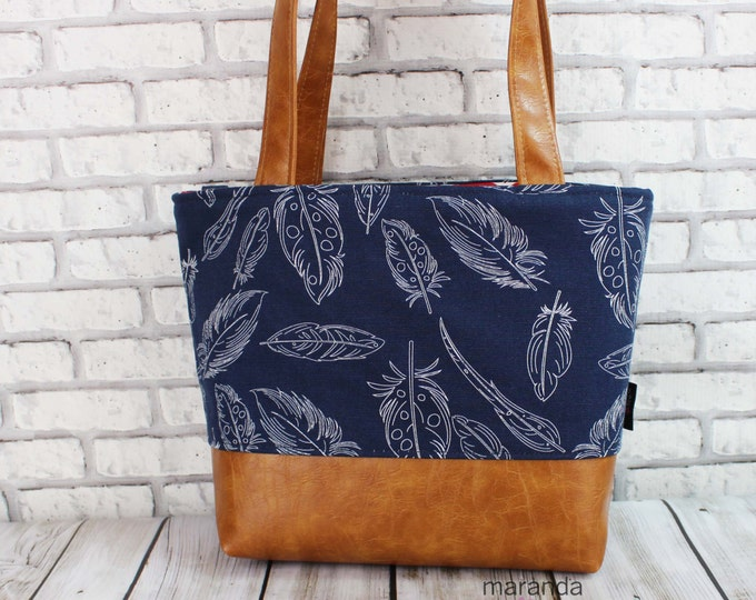 Lulu Medium Tote  Bag Navy Feathers and PU Leather READY to SHIP - Zipper Closure