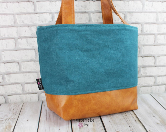 Lulu Medium Tote  Bag Teal Linen - READY to SHIP