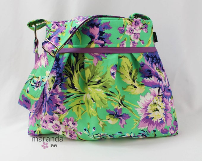 Stella Diaper Bag - Large - Bliss Emerald with Lavender  READY to SHIP - 6 pockets -Adjustable Strap- Bay Gear- Attach to Stroller