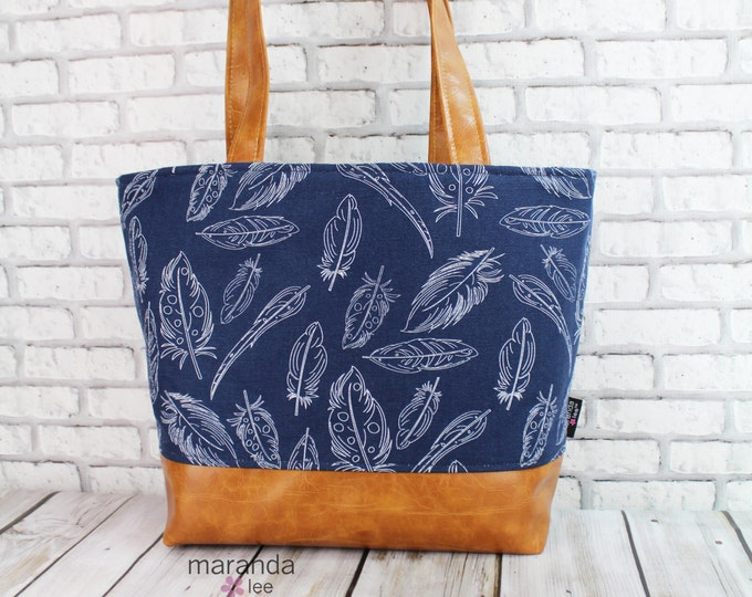 Lulu Large Tote Navy Feathers READY to SHIP Zipper Closure