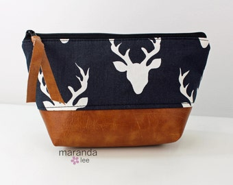 AVA Small Clutch -  Buck Heads with PU Leather