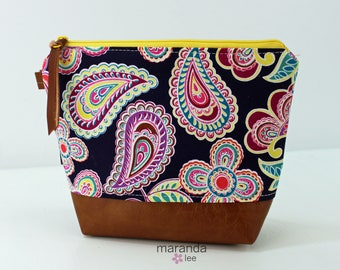 AVA Medium Clutch - Purple Paisley with PU Leather READY to SHIp